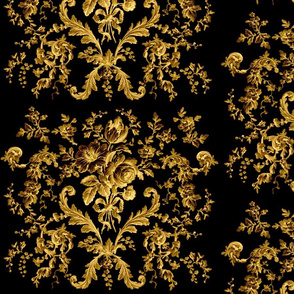 Faded Rococo Roses in gilt on sable
