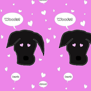 Black Lab Dog of Hearts in Pink