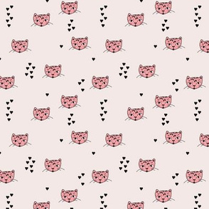 Adorable pastel pink beige and black kitten fun cat illustration in scandinavian abstract style print for kids and cats lovers XS