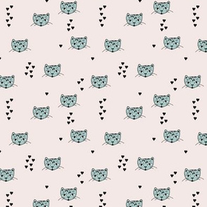 Adorable pastel mint beige and black kitten fun cat illustration in scandinavian abstract style print for kids and cats lovers XS