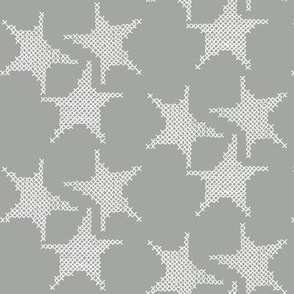 cross stitch stars on grey