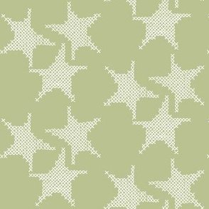 cross stitch stars on green