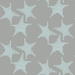 pale blue cross stitch stars on grey