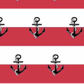 Anchor Stripes -Large Rose Red