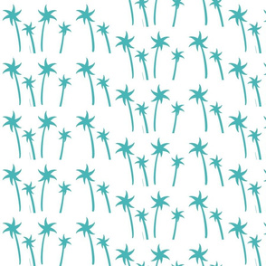 palms White - MEDIUM turqouise mist