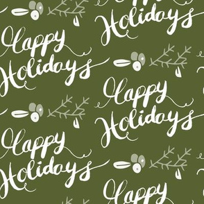 Happy Holiday Calligraphy Green