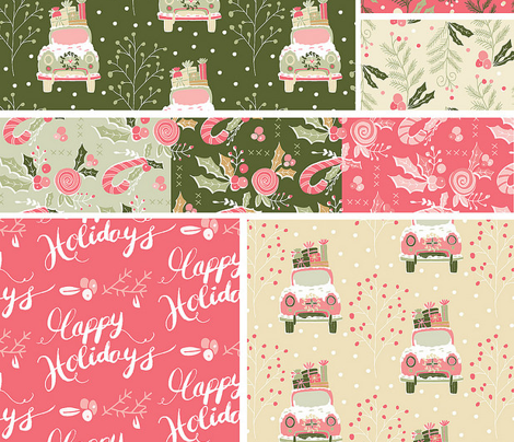 Holly leaves & Candy Canes Green