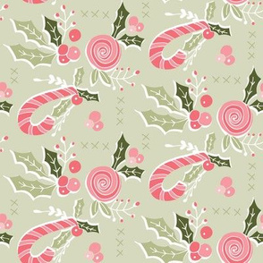 Holly Leaves and Candy Canes Light Green