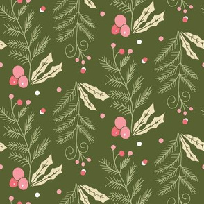 christmas holly leaves and pine needles dark green