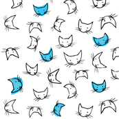 kitty faces in blue