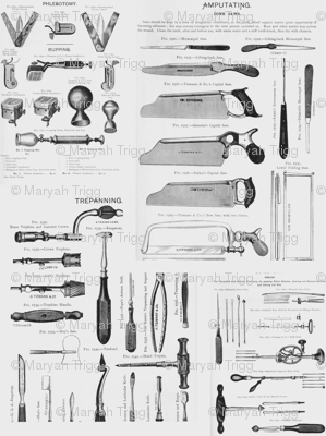 Antique Surgical Tools Fabric Maryah13 Spoonflower