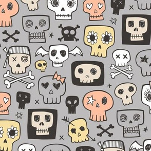 Skulls In Orange Yellow on Grey Halloween