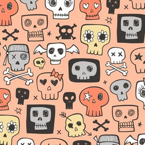 Skulls In Orange Yellow Halloween