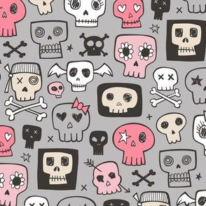 Skulls In Pink on Grey