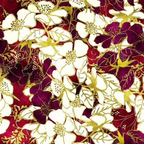 Watercolor Roses Floral in cabernet red