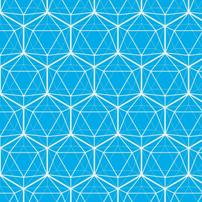 Icosahedron White on Bright Blue