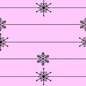 Pink Lines of Snowflakes