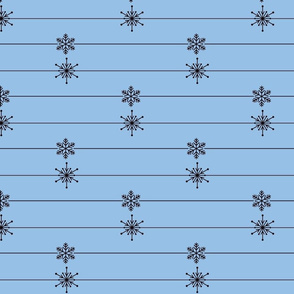 Blue Lines of Snowflakes