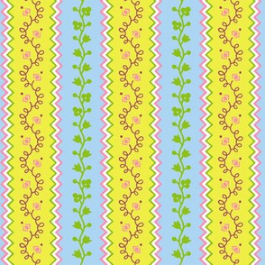 apron stripe-spring flowers colorway
