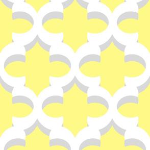 Yellow Gray White Quatrefoil