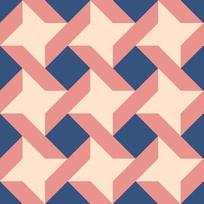 Trendy Ribbon Star, Peach Coral Navy
