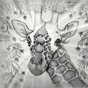 Giraffe zendoodle B/W
