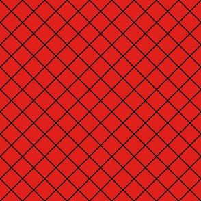Diamonds - 2 inch - Black Outlines on Red (#E0201B)