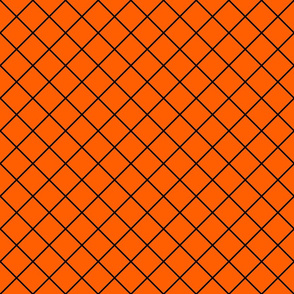 Diamonds - 2 inch - Black Outlines on Orange (#FF5F00)