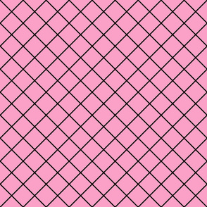 Diamonds - 2 inch - Black Outlines on Light Pink (#FBA0C6)