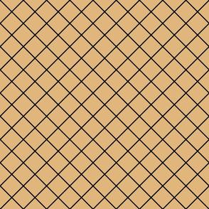 Diamonds - 2 inch - Black Outlines on Pale Brown (#E0B67C)