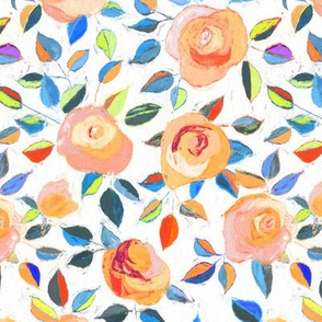 Crayon Roses in peach, blue and white