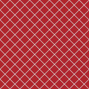 Diamonds - 2 inch - White Outlines on Dark Red (#B1252C)
