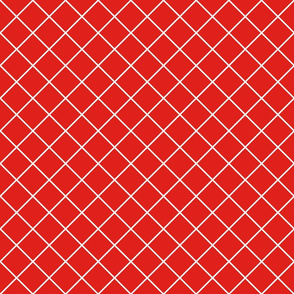 Diamonds - 2 inch - White Outlines on Red (#E0201B)