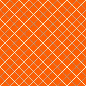 Diamonds - 2 inch - White Outlines on Orange (#FF5F00)
