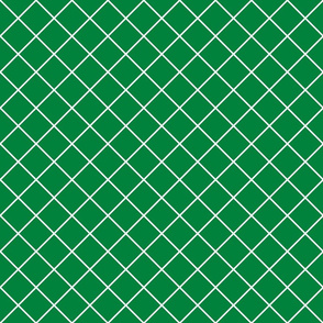 Diamonds - 2 inch - White Outlines on Dark Green (#00813C)