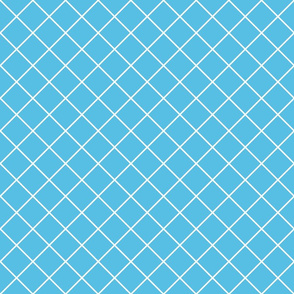 Diamonds - 2 inch - White Outlines on Pale Blue (#57BEE4)