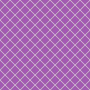 Diamonds - 2 inch - White Outlines on Mid Purple (#A25BB1)