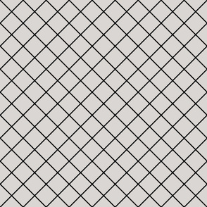 Diamonds - 2 inch - Black Outlines on Light Grey (#D9D6D4)