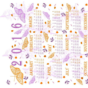 2016 Purple and Orange Butterflies Calendar