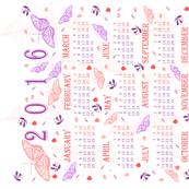 2016 calendar pink and purple butterflies