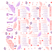 2017 calendar pink and purple butterflies