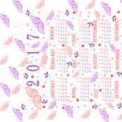 2017 calendar pink and purple butterflies