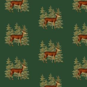 Vintage_deer_in_woods_green