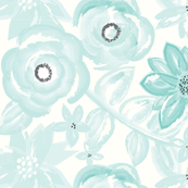 Spring Garden Watercolor Floral in Turquoise