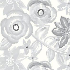 Spring Garden in Gray Watercolor Floral