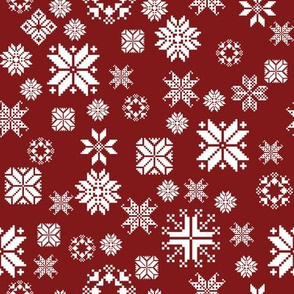 Sticka Sno in white on falu red