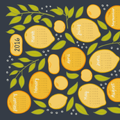 2016 Citrus Tea Towel - Charcoal