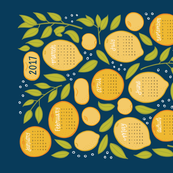 2017 Citrus Tea Towel - Navy