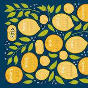 2016 Citrus Tea Towel - Navy