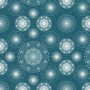 Spirograph Lace - Blue green and white